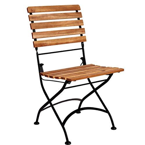 BUTLERS Parklife Gartenstuhl aus Holz 47x54x88 cm - Stuhl klappbar aus FSC-Akazienholz und Metall schwarz verzinkt für Balkon oder Garten