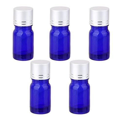 Lot de 5 Bouteille d'Huile Essentielle Vide Flacon en Verre Bleu Orifice Réducteur & Bouchon à Vis d'Argent 5ML