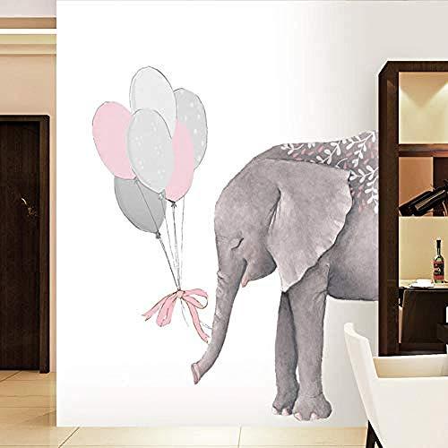 Elefant-rosa grauer Ballon-Kunst-Wand-Baby-KindergartenWandaufkleber Wand-Aufkleber Fototapete Wandtattoo Wanddekoration - Grauer Elefant Baby Dekorationen