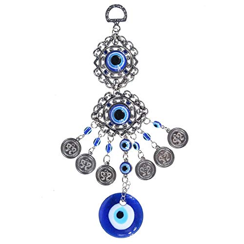 Garten Windspiele Blaues Auge Windspiele Amulett Schutz türkischen bösen Blick Wandbehang Home Decotation Segen Geschenk Glück Anhänger Windspiele (Color : Blue)