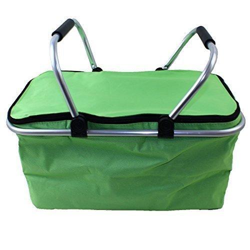 picnic-basket-cooler-bag-hamper-insulated-folding-tote-travel-35l-green