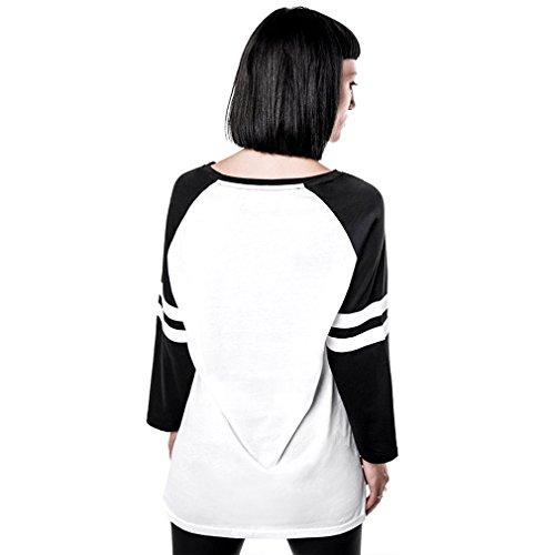 Killstar X Marilyn Manson Unisex 3/4-Arm Raglan T-Shirt - Wormboy Baseball Top Damen / Herren Weiß