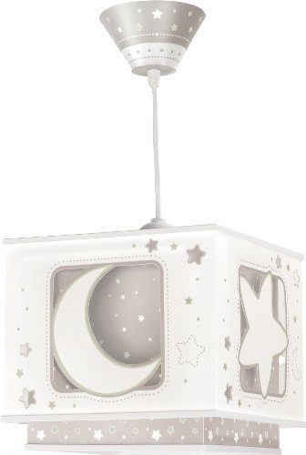 Dalber Fluorescent Hängelampe Moon and star, gray 63232E
