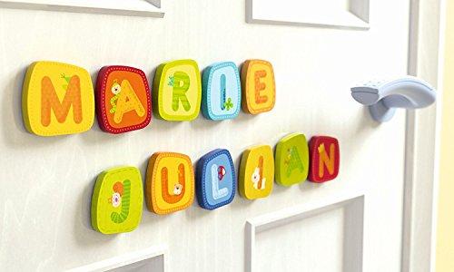 Haba Holzbuchstaben 5 Stück im Set inkl. Klebepunkte und Geschenkverpackung, Buchstaben, Kinderzimmer, Mädchen, Junge, Geschenk, Geburt, Taufe, Geburtstag, Mitbringsel