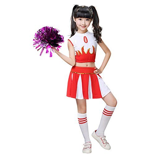 leader Kostüm Uniform Zweiteilig Karneval Fasching Party Halloween Weihnachten Kostüm Kleid Cheerleading Jazz Bekleidung mit 2 Pompoms und Socks Rot 140 (Rote Cheerleading Uniformen)