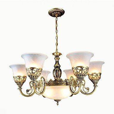 Makenier uk- Bronze Kronleuchter neun Lichter Moiré-Glas Europäischen Retro-Klassiker 220v - Bronze-neun-licht Kronleuchter