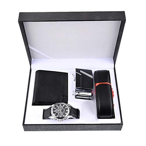 Souarts Herren Geschenkset mit Armbanduhr Geldbörse Gürtel Geschenkset für Herren Schwarz (mit Geldbörse) (Schwarz)