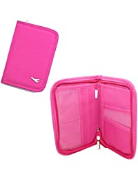 Packnbuy Sleek Travel Passport Organizer Wallet With Zip For Credit Card Ticket Coins Money Cash Currency Boarding Pass Pen - Pink Color