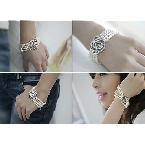 Emeco - Pulsera brazalete con perlas, detalle en forma de rosa con diamantes falsos, color blanco