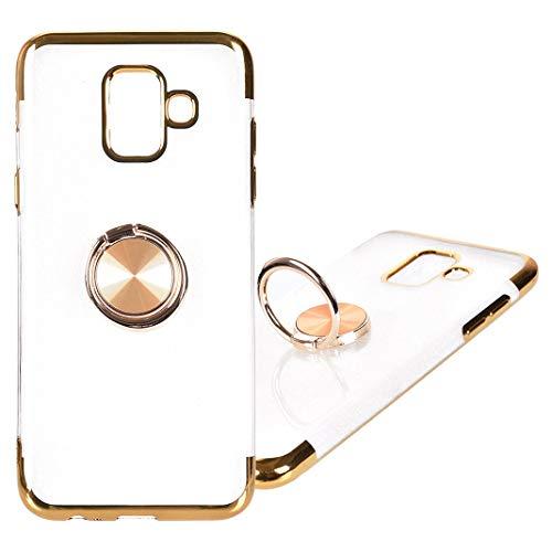 Galaxy A6 2018 Schutzhülle Silikon, Dünn Silikon Handyhülle Kompatibel mit Samsung Galaxy A6 Tasche mit Metall Ring Handyhalterung Auto Magnet Ständer Smartphone Halter Ständer Ringhalter (Metall Tasche-ständer)