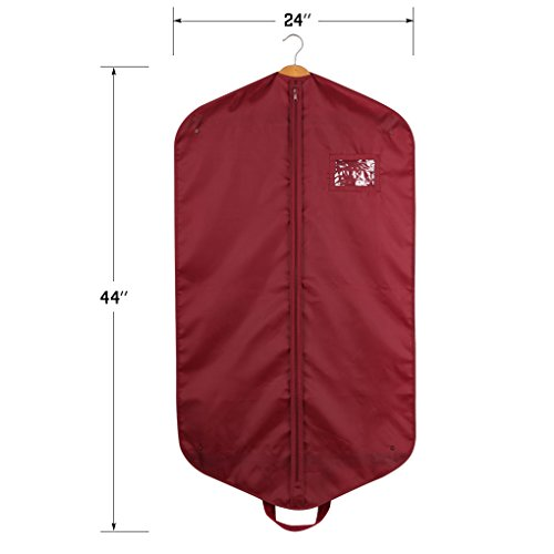 "Pack de 3poliéster cubierta, para la ropa bolsa de transporte con asas para viajes, con ventana transparente, 44""L * 24"" W, burdeos,"