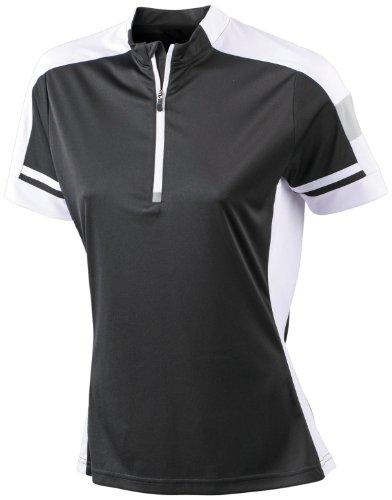 James & Nicholson Damen Sport T-Shirt Radtrikots Bike-T-Half Zip schwarz (black) XX-Large