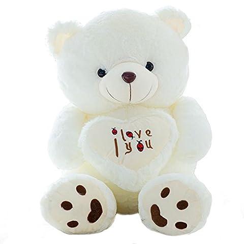 VerCart Grand Nounours Ours Souriant en Peluche XXL Teddy Bear Jouet Oursons avec Cœur Douce Cadeaux pour Bébé Enfant Ado Fille Garçon Blanc