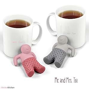 iNeibo Kitchen Mrs & Mr.Tea infusore/Filtro Te/colino Tè in silicone a forma di Omino, Design inteligente addato a tutte le tazze, 100% Silicone alimentare inodore privo di Bpa. Set da 2 (Rosa,Grigio)