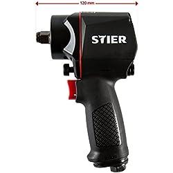 STIER Schlagschrauber | Druckluft-Schlagschrauber 14-KBS 1/2 | Stecknippel 1/4 | Lösedrehmoment von 1.400 Nm | 3 Geschwindigkeitsstufen | Rechts- und Linkslauf