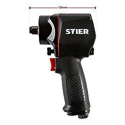 STIER Schlagschrauber, Druckluft-Schlagschrauber 14-KBS, Stecknippel 1/4, Lösedrehmoment von 1.400 Nm, 3