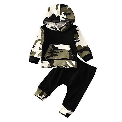 Fenverk 2Pc Neugeborenes Kinder Baby Jungs Outfits Kleider Brief T-Shirt Tops Tarnen Hose Kleinkind LangäRmlig Kapuzenpullover Sweatshirts + Hosen Outfit 0-1 Jahre(Tarnung 2,6-12 Monate)