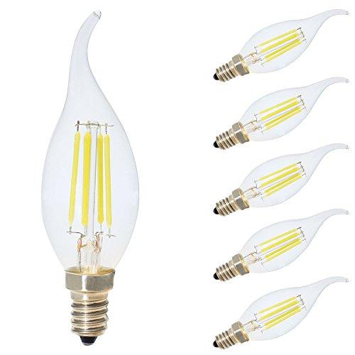 Ampoules LED E14 Filament Vintage Edison,4W Equivalent 30W,Blanc Froid 6500K,AC 220V-240V,Pack de 5
