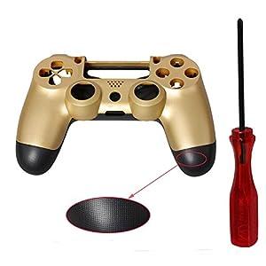 PS4 Gehäuse, ENDARK Griff Gehäuse Shell, Anti-Rutsch-Gold-Kunststoff-Controller Shell Gehäuse für PS4 Playstation 4 Controller + Schraubendreher