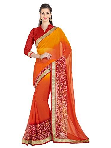 SOURBH Women's Faux Georgette Bandhani Bandhej Saree (6331_Orange)