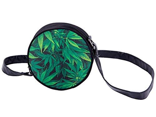 Borsa rotonda a tracolla con motivi divertenti. Borsetta con chiusura zip. Moderno lyfestyle trend zaino donne design, Tasche HT-01-36:HT-018 marijuana verde