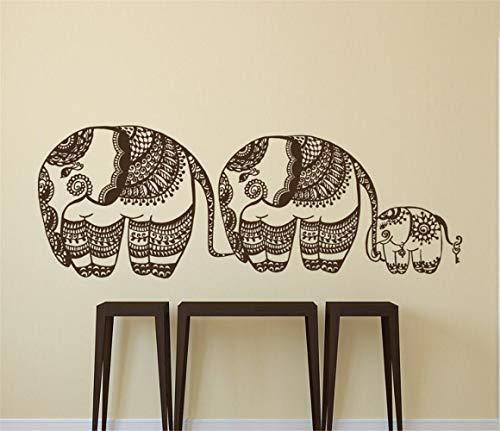 pegatinas decorativas pared 3 Elefantes Flores Animales Yoga Ropa de cama bohemia...