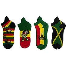 Para hombre Rasta Zapatillas Tobillo Calcetines deportivos en verde, rojo y amarillo