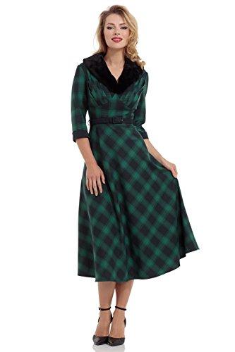 Voodoo Vixen Lola Vintage 40er Jahre Kleid - Grün & Blau (XL - 40)