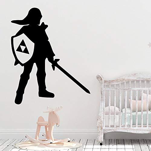 YuanMinglu Schwert und Schild wandaufkleber Wohnzimmer Vinyl Dekoration kinderzimmer Dekoration Aufkleber 28X34 cm