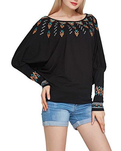 Smile YKK Blouse Chemise Femme T-shirt Manche Chauve-souris Top Haut Col Rond Grande Taille Chic Noir