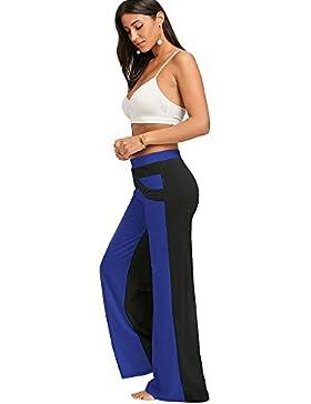 Mujeres Pantalones Palazzo Elasticos Pantalones Anchos de Pierna Casual Cintura Media Colores Variados, S - 2XL