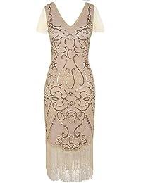 PrettyGuide Femmes 1920s Robe de Flapper Paillette Cocktail Grande robe Gatsby