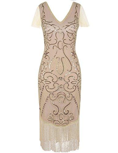 PrettyGuide Damen 1920er Flapper Kleid Pailletten Great Gatsby Cocktailkleider M Champagner rosa