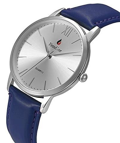 DMwatch Damen Und Herren universalWatch Blau Leder Armband Silber Lünette 3ATM Wasserdicht Classy Analoganzeige Quarz Damenuhren