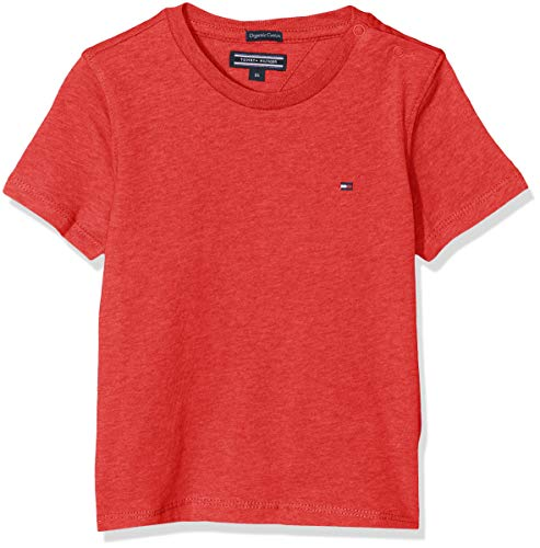 Tommy Hilfiger Jungen Boys Basic Cn Knit S/S T-Shirt, Rot (Apple Red Heather 601), 140 (Herstellergröße: 10)
