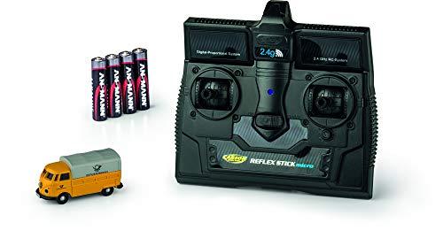 CARSON 500504123 - 1:87 VW T1 Bus Deutsche Post 2.4G 100{6f9fcb86546b58c4ca7cd901016e65d3b6978c449a3b2af2fb6c25677eaf6341}RTR, Fahrfertiges Modell, 2.4 GHz Fernsteuerung mit Ladeanschluss, inkl. 4xAAA Senderbatterien, mit LED Beleuchtung, Anleitung