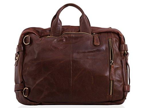 Borsa tracolla in pelle / viaggio borsa / zaino, multi funzione, casual, in pelle mod p 4027, Italia Brown