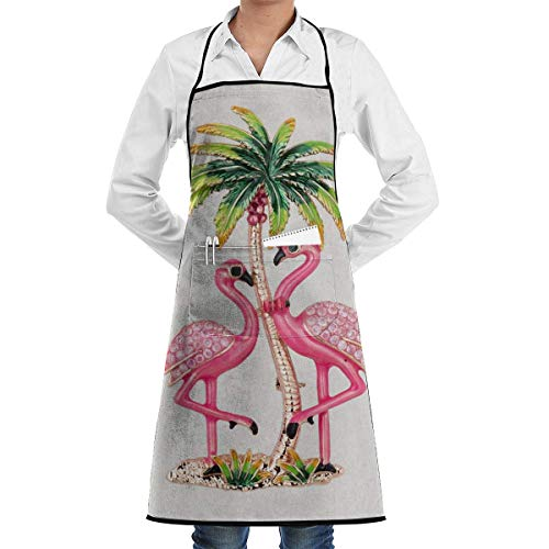 Island Kostüm Long - Gold Paradise Island Flamingo Schürze Lace Unisex Mens Womens Chef Adjustable Polyester Long Full Black Cooking Kitchen Schürzes Bib with Pockets for Restaurant Baking Crafting Gardening BBQ Grill