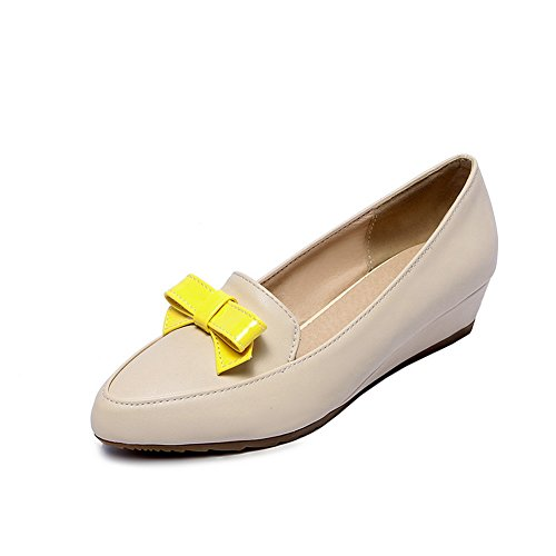 balamasa-ladies-pull-on-bows-pull-on-beige-urethane-pumps-shoes-45-uk