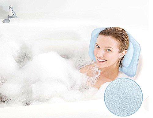 Diossad Badewanne Kissen Blau Non Slip Wasserdicht Semi Soft PVC Spa Kissen mit Verbesserten Saugnapf