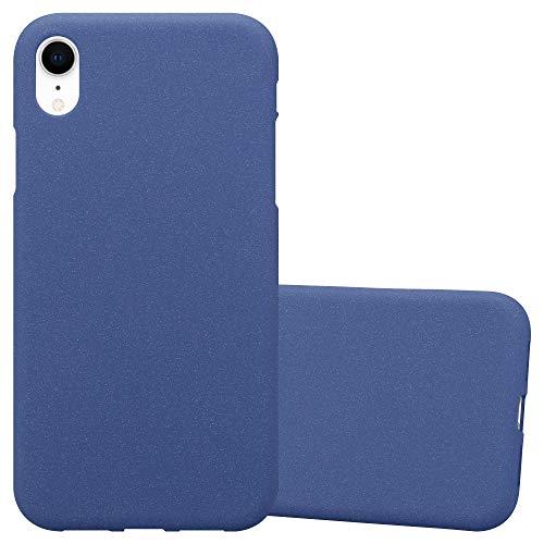 Cadorabo Hülle für Apple iPhone XR - Hülle in Frost DUNKEL BLAU - Handyhülle aus TPU Silikon im matten Frosted Design - Silikonhülle Schutzhülle Ultra Slim Soft Back Cover Case Bumper Blau Back Case