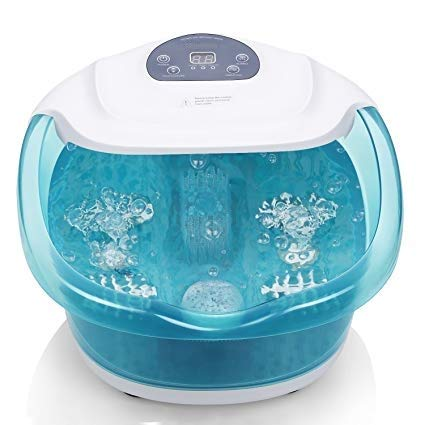 Foot Spa/Bath with Bubble and Heat for Relaxation and Rejuvenation, Pedicure with Vibrating Feature and Roller Massager