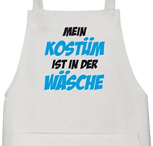 Barbecue Grill Schürze Kochschürze mit Mein Kostüm ist in der Wäsche Motiv, Größe: onesize,Weiß ()