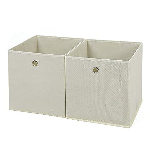 Songmics 2 Stück faltbare aufbewahrungsbox faltbox mit Fingerloch 30 x 30 x 30 cm beige RFB02M