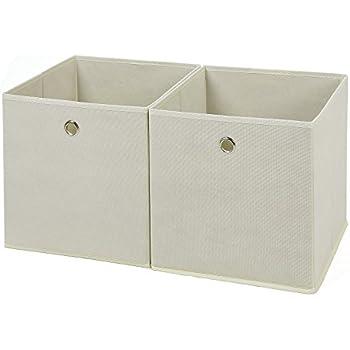 Songmics Set Of 2 Fabric Foldable Storage Box Drawer Cubes With Fingerhole  Beige 30 X 30