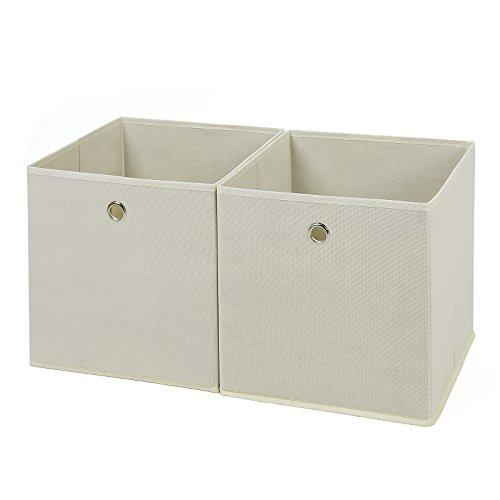 SONGMICS 2 Stück faltbare Aufbewahrungsbox Faltbox mit Fingerloch 30 x 30 x 30 cm beige RFB02M (Boxen Schrank)