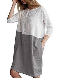 823b0727c3c888 MCYs Leinenkleid Damen Tunika T-Shirt Kleid Patchwork 1/2 Hülse Baumwolle  Freizeitkleid Strandkleid Minikleid Shirtkleid Oversize…