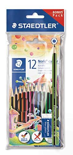 Staedtler Noris 185 SET1. Lápices de colores ecológicos. Caja con 12 lápices y una goma de borrar.