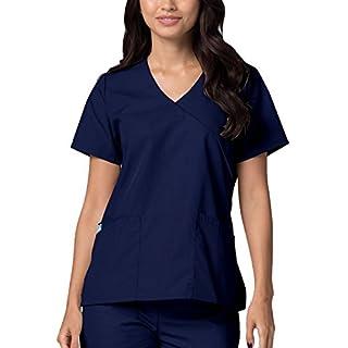Medical Uniforms Women's Mock Wrap Solid Trim Hospital Nurse Scrub Top, Color: NV/NV | Size: M