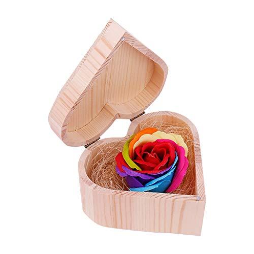Kiky Rose Soap Geschenkbox Simulation Bunte Blumenseife mit herzförmiger Holzkiste -